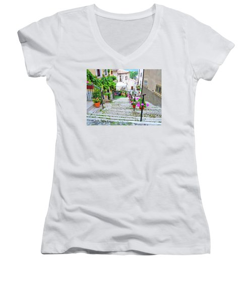 Italy In The Spring  Women's V-Neck (Athletic Fit)