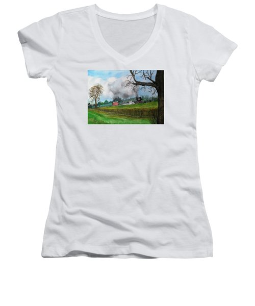 It's All Uphill To Scotland Women's V-Neck T-Shirt (Junior Cut) by Carole Robins