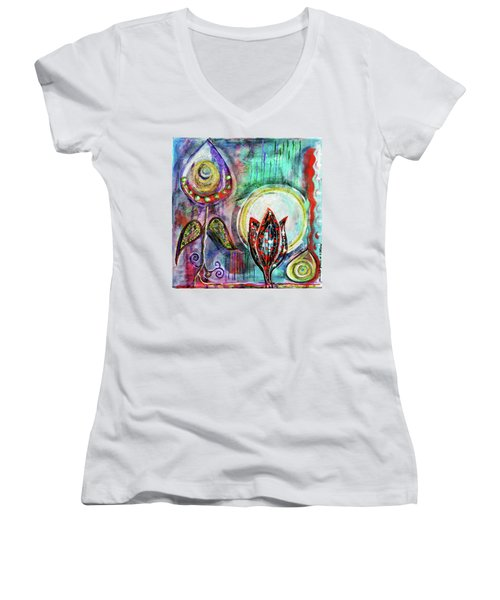 It's Connected To The Moon Women's V-Neck (Athletic Fit)