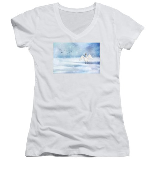 Women's V-Neck T-Shirt (Junior Cut) featuring the photograph It's Snowing by Annie Snel
