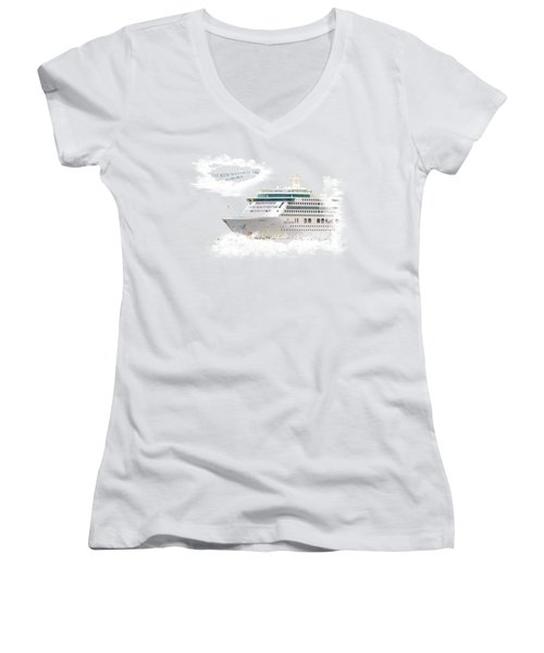 I've Been Nauticle On Aurora On Transparent Background Women's V-Neck T-Shirt