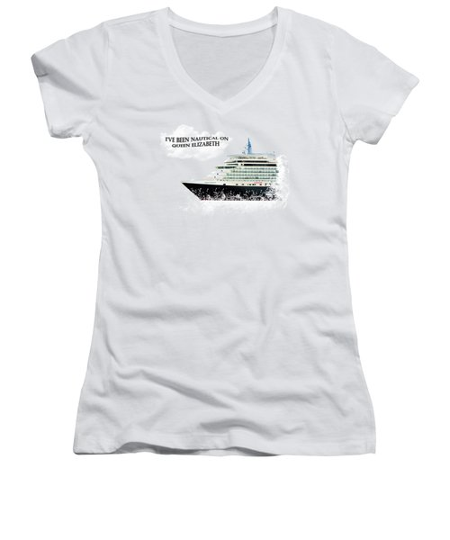 I've Been Nauticle On Queen Elizabeth On Transparent Background Women's V-Neck T-Shirt (Junior Cut) by Terri Waters