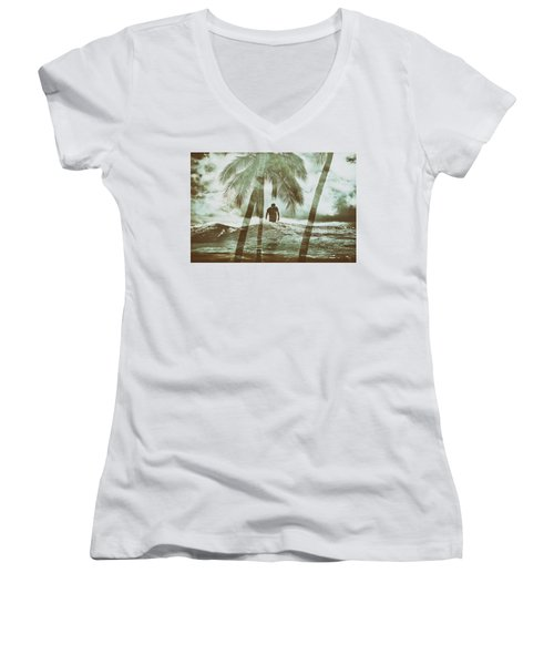 Izzy Jive And Palms Women's V-Neck (Athletic Fit)