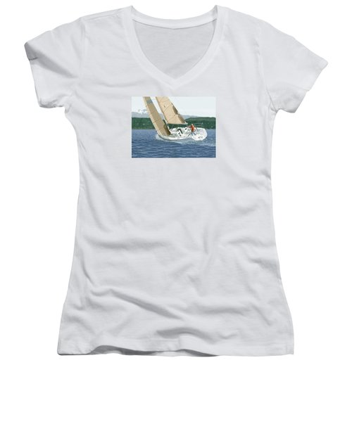 Women's V-Neck T-Shirt (Junior Cut) featuring the painting J-109 Sailboat Off Comox B.c. by Gary Giacomelli