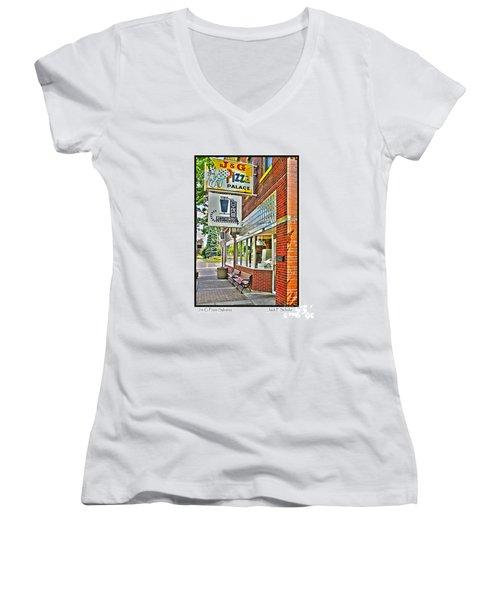 J And G Pizza Palace Women's V-Neck T-Shirt