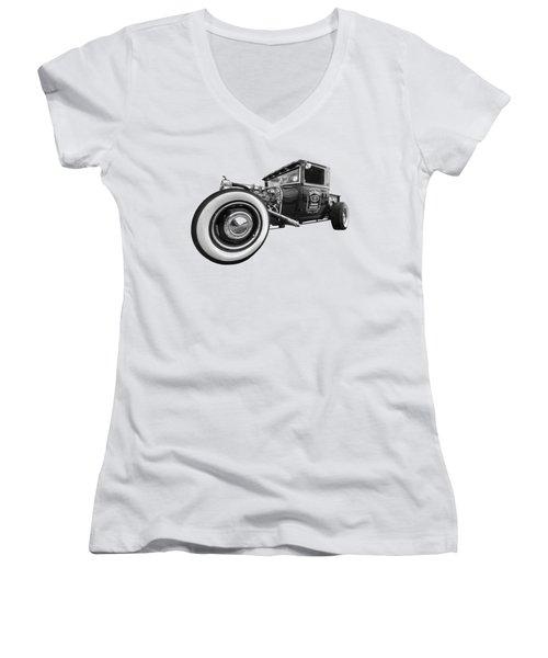 Jack Daniels Vintage Hot Rod Delivery Women's V-Neck T-Shirt (Junior Cut)