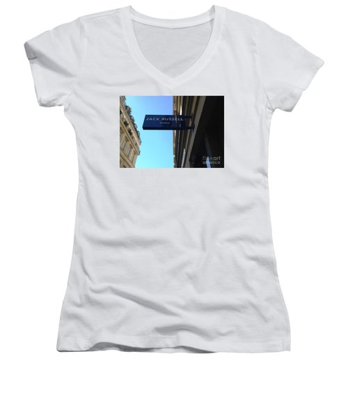 Jack Russell Paris Women's V-Neck T-Shirt (Junior Cut) by Therese Alcorn