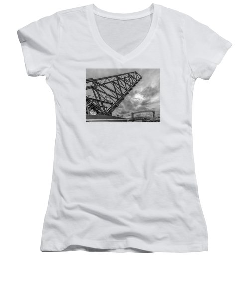 Jackknife Bridge To The Clouds B And W Women's V-Neck