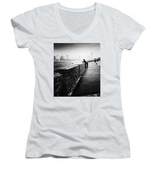 Jaffa Port Women's V-Neck T-Shirt (Junior Cut) by Hayato Matsumoto
