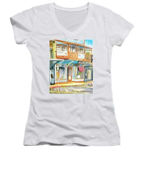 Women's V-Neck T-Shirt (Junior Cut) featuring the painting Jaggers by Eric Samuelson