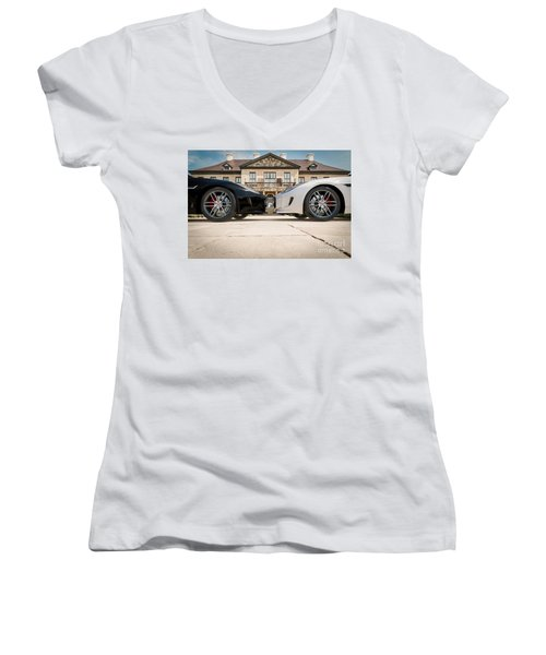Jaguar F-type - Black And White Women's V-Neck