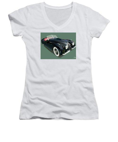 Jaguar Xk 120 Illustration Women's V-Neck (Athletic Fit)