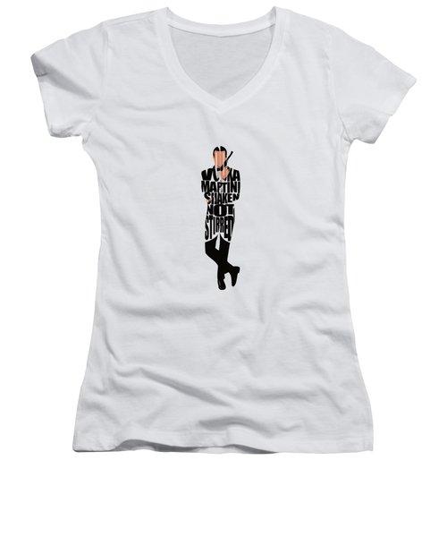 James Bond Women's V-Neck T-Shirt (Junior Cut) by Ayse Deniz