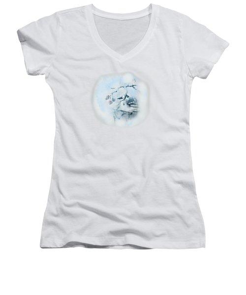 January Bluejay  Women's V-Neck T-Shirt (Junior Cut) by Susan Capuano