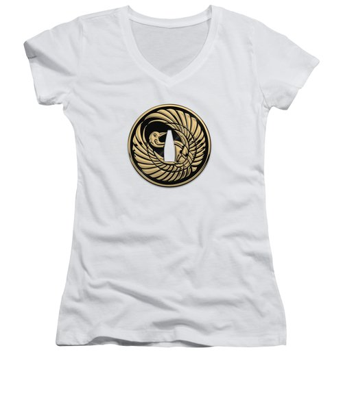 Japanese Katana Tsuba - Golden Crane On Black Steel Over White Leather Women's V-Neck (Athletic Fit)