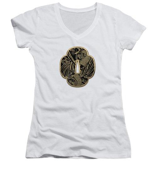 Japanese Katana Tsuba - Golden Twin Koi On Black Steel Over White Leather Women's V-Neck T-Shirt (Junior Cut)