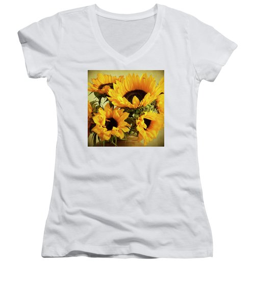 Jar Of Sunflowers Women's V-Neck (Athletic Fit)