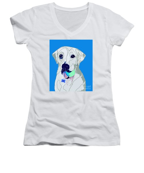 Jax With Ball In Blue Women's V-Neck