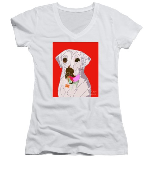 Jax With Ball In Red Women's V-Neck
