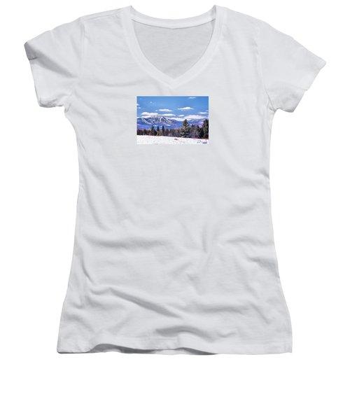 Women's V-Neck T-Shirt (Junior Cut) featuring the digital art Jay Peak by John Selmer Sr
