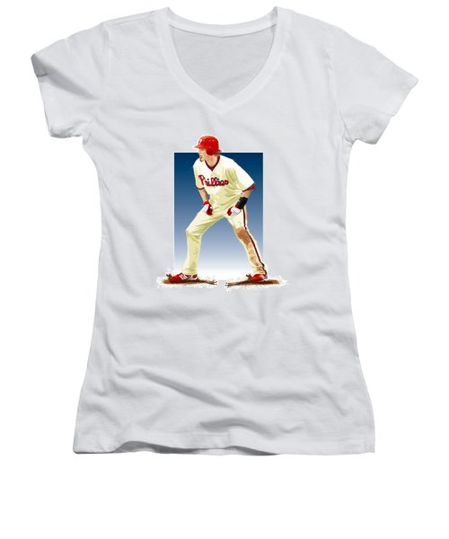 Jayson Werth Women's V-Neck T-Shirt (Junior Cut) by Scott Weigner