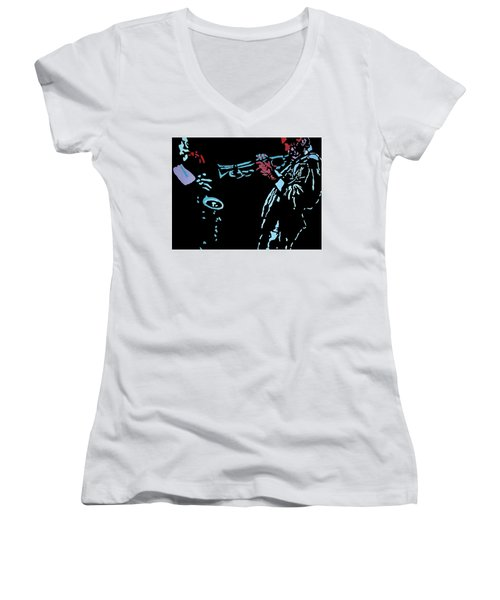 Jazz Duo Women's V-Neck T-Shirt (Junior Cut) by Angelo Thomas