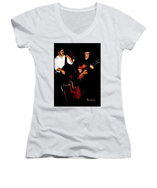 Jazz Musicians Women's V-Neck T-Shirt (Junior Cut) by Sadie Reneau