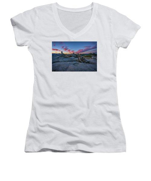 Women's V-Neck T-Shirt (Junior Cut) featuring the photograph Jeffrey Pine Dawn by Rick Berk