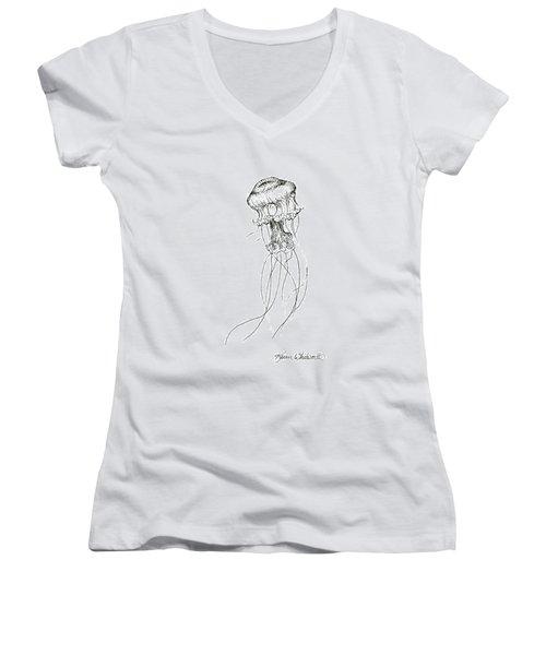 Jellyfish Sketch - Black And White Nautical Theme Decor Women's V-Neck