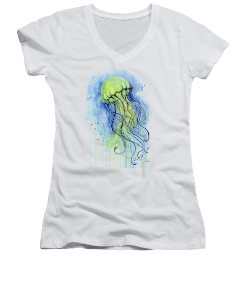 Jellyfish Watercolor Women's V-Neck