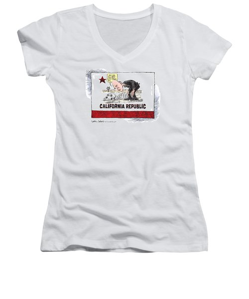 Jerry Brown - California Drought And High Speed Rail Women's V-Neck