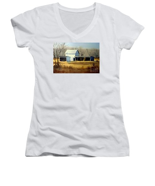 Jersey Farm Women's V-Neck T-Shirt (Junior Cut) by Donald Maier