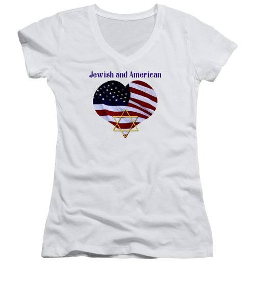 Jewish And American Flag With Star Of David Women's V-Neck T-Shirt (Junior Cut) by Rose Santuci-Sofranko