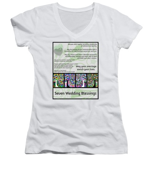 Jewish Seven Wedding Blessings Tree Of Life Hamsas Women's V-Neck T-Shirt