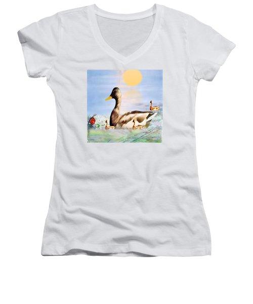 Jhot Summer Day Women's V-Neck T-Shirt (Junior Cut) by Belinda Threeths
