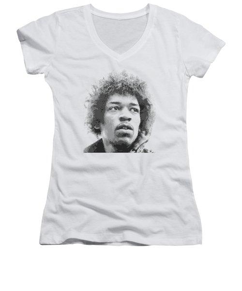 Jimi Hendrix - Cross Hatching Women's V-Neck T-Shirt
