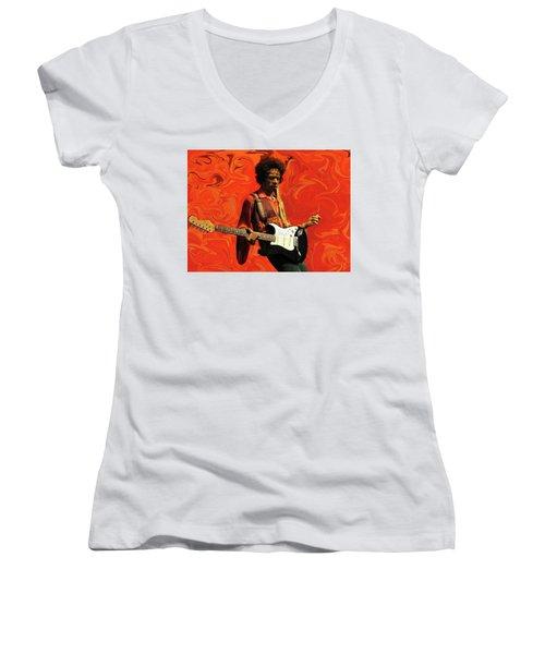Women's V-Neck T-Shirt (Junior Cut) featuring the photograph Jimi Hendrix Purple Haze Orange by David Dehner