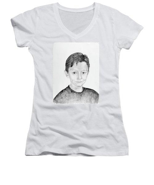 Women's V-Neck T-Shirt (Junior Cut) featuring the drawing Jimmy by Mayhem Mediums