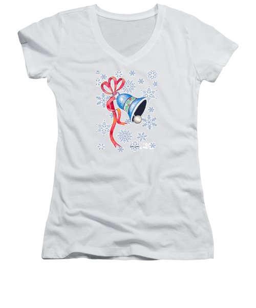 Jingle Bells And Snowflakes On Christmas Day Women's V-Neck (Athletic Fit)