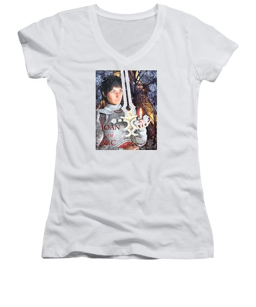 Joan Of Arc Poster 2 Women's V-Neck T-Shirt (Junior Cut) by Suzanne Silvir