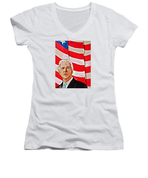 Joe Biden 2010 Women's V-Neck T-Shirt (Junior Cut) by Ken Higgins