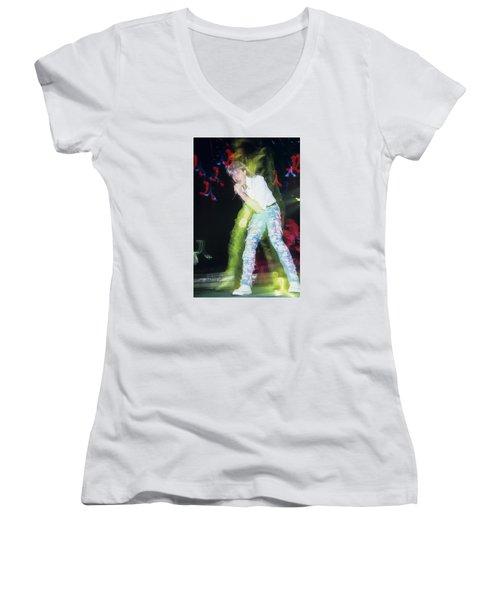 Joe Elliott Of Def Leppard Women's V-Neck T-Shirt (Junior Cut) by Rich Fuscia