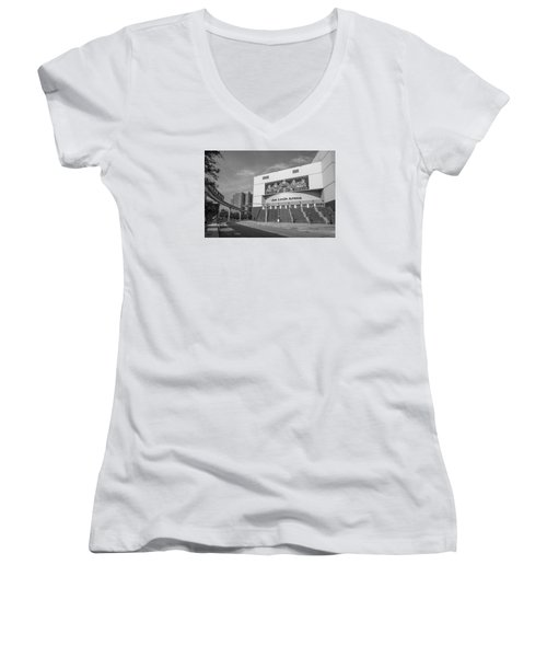 Joe Louis Arena Black And White  Women's V-Neck T-Shirt (Junior Cut)