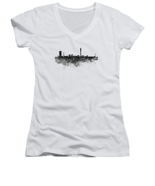 Johannesburg Black And White Skyline Women's V-Neck (Athletic Fit)