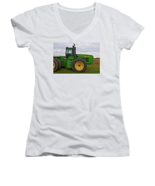 Women's V-Neck T-Shirt (Junior Cut) featuring the photograph John Deere Green 3159 by Guy Whiteley
