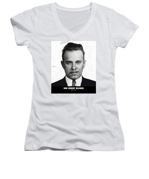 John Dillinger - Bank Robber And Gang Leader Women's V-Neck T-Shirt