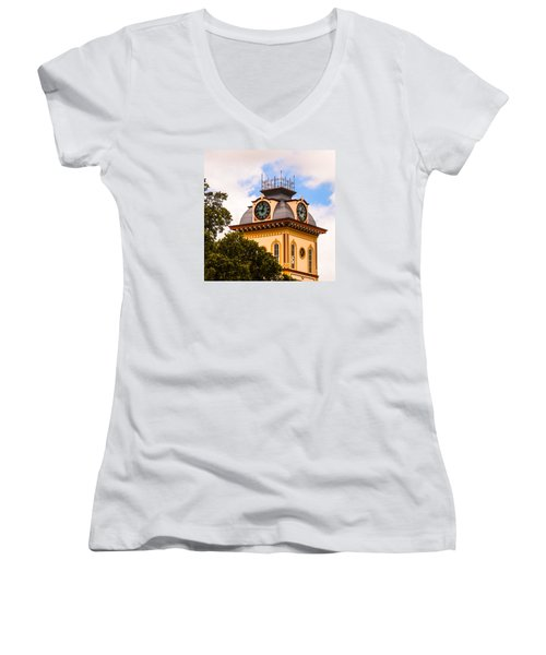 John W. Hargis Hall Clock Tower Women's V-Neck T-Shirt (Junior Cut) by Ed Gleichman