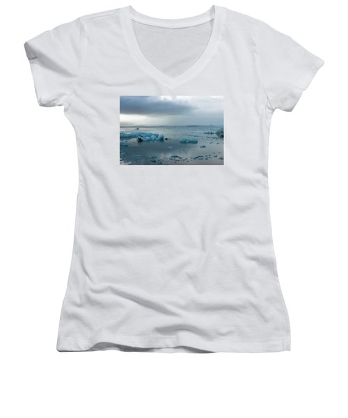 Women's V-Neck T-Shirt featuring the photograph Jokulsarlon, The Glacier Lagoon, Iceland 1 by Dubi Roman