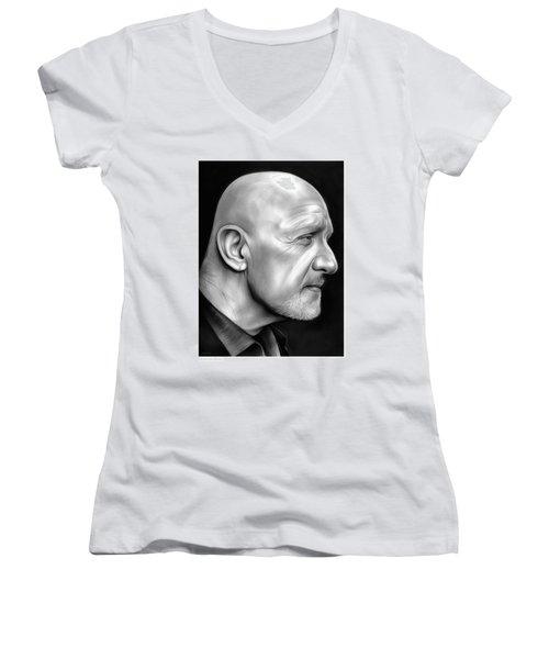 Jonathan Banks Women's V-Neck T-Shirt (Junior Cut) by Greg Joens