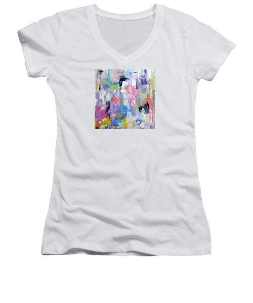 Women's V-Neck T-Shirt (Junior Cut) featuring the painting Journal by Katie Black